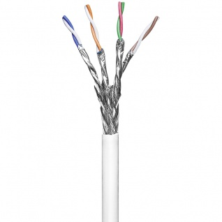 Installationskabel Cat 6, S/FTP, PVC, 250MHz, 4x2xAWG23/1, weiß, 100m, Good Connections®