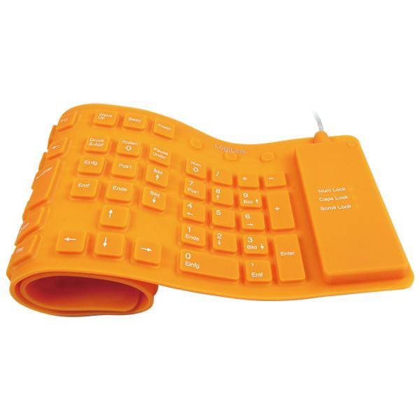 LogiLink® Tastatur Flexibel Wasserfest USB + PS/2 orange [ID0038]