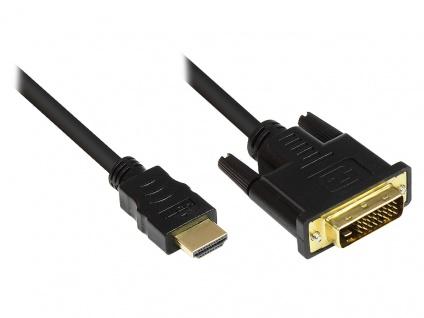 Kabelmeister® Anschlusskabel HDMI 19pol Stecker an DVI-D 24+1 Stecker, vergoldete Stecker, schwarz, 1m