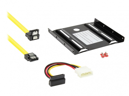 Good Connections® SSD Einbau Set - Einbaurahmen + SATA Kabel + SATA Stromkabel