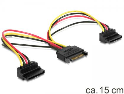 SATA Y-Stromkabel 15 Pin an 2 x SATA HDD, mit Metallclip, gewinkelt, Delock® [60128]