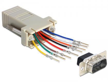 Adapter Sub-D 9 Pin Stecker an RJ45 Buchse, Montagesatz, Delock® [65462]