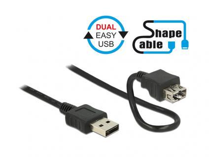 Anschlusskabel EASY USB 2.0, Typ A Stecker an Typ A Buchse, ShapeCable, schwarz, 1m, Delock® [83664]