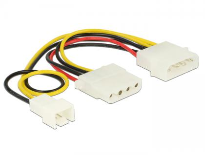 Stromkabel 4 Pin Stecker an 1 x 4 Pin Buchse + 1 x 3 Pin Stecker (Lüfter) 14 cm, Delock® [83658]