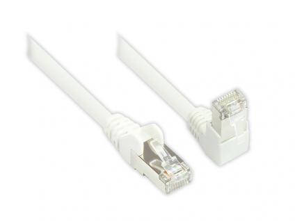 Kabelmeister® Patchkabel, Cat. 6, S/FTP, PiMF, 250MHz, einseitig 90____deg; nach unten gewinkelt, weiß, 15m