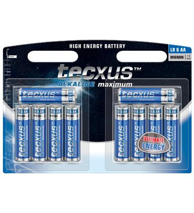 Tecxus® Batterie (High Energy) Alkali Mignon LR 6 (AA) 1, 5V, 8erPack in Blister (2 for free)