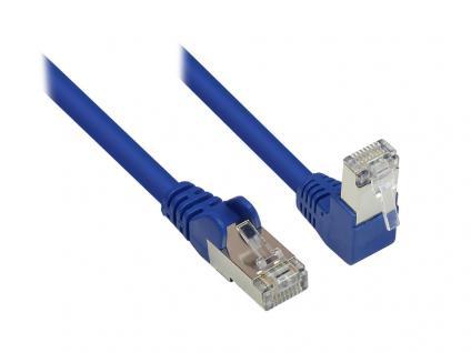 Kabelmeister® Patchkabel, Cat. 6, S/FTP, PiMF, 250MHz, einseitig 90____deg; nach unten gewinkelt, blau, 15m
