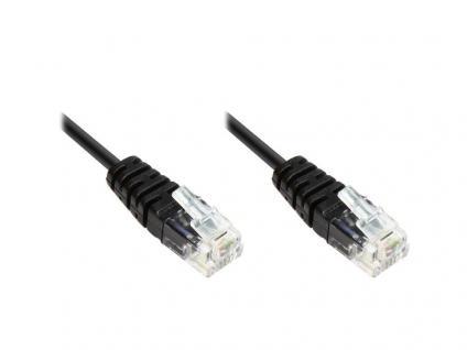 ISDN-Anschlusskabel, 2x RJ11 Stecker, 4-adrig, rund, schwarz, 0, 6m, Good Connections®
