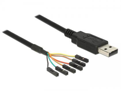 Adapterkabel USB an Seriell-TTL 6-Pin Pinheader Buchse einzeln, 1, 8m, (5V), Delock® [83786]