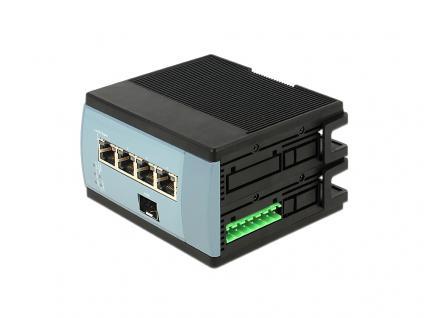 Switch, 4-Port, Gigabit Ethernet + 1 SFP für Hutschiene, Delock® [87659]