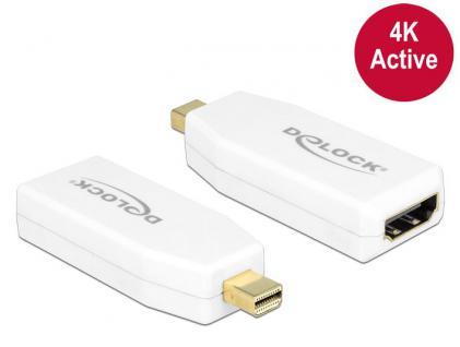 Adapter mini DisplayPort 1.2 Stecker an HDMI Buchse 4K Aktiv, weiß, Delock® [65582]