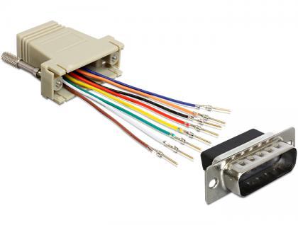 Adapter, Sub-D 15 Pin Stecker zu RJ45 Buchse, Montagesatz, grau, Delock® [65432]