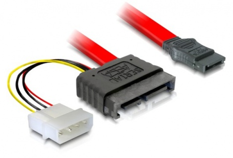 S-ATA Slimline ALL-in-One Anschlusskabel Stecker + 4pin Power auf S-ATA, 0, 3m, Good Connections®
