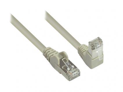 Kabelmeister® Patchkabel, Cat. 6, S/FTP, PiMF, 250MHz, einseitig 90____deg; nach unten gewinkelt, grau, 15m