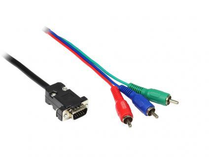 Anschlusskabel VGA an 3x Cinch Stecker (RGB), schwarz, 10m, Good Connections®
