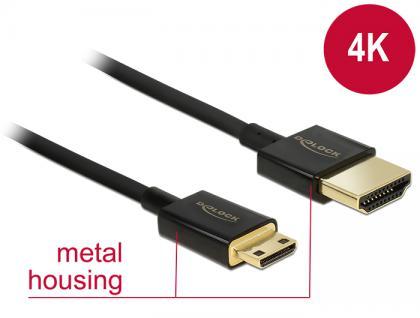 Kabel High Speed HDMI mit Ethernet - HDMI-A Stecker an HDMI Mini-C Stecker 3D 4K 1 m Slim Premium, Delock® [84776]