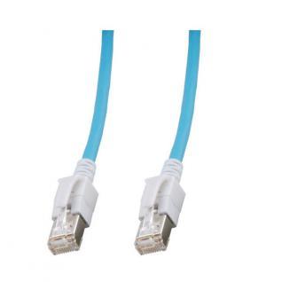kabelmeister® Patchkabel, Cat. 6A, S/FTP, PiMF, halogenfrei, mit leuchtenden Steckern, blau, 5m