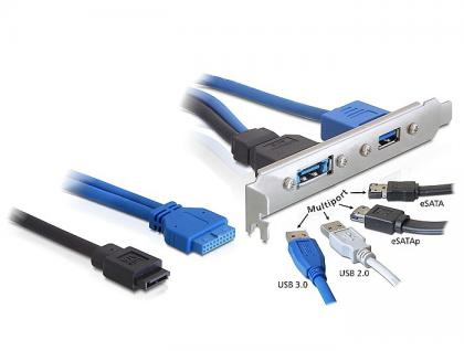 Slotblech USB 3.0 Pin Header 19 Pin + SATA 7 Pin intern an 1 x USB 3.0-A + 1 x Multiport extern, Delock® [82977]