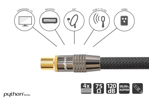 SAT Antennenkabel, IEC/Koax Stecker an Buchse, vergoldet, Schirmmaß 120 dB, 75 Ohm, Nylongeflecht schwarz, 7, 5m, PYTHON® Series