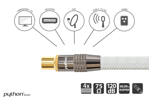 SAT Antennenkabel, IEC/Koax Stecker an Buchse, vergoldet, Schirmmaß 120 dB, 75 Ohm, Nylongeflecht weiß, 5m, PYTHON® Series