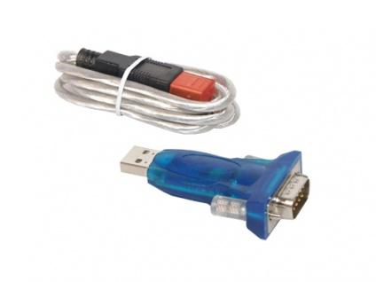 USB an Seriell Konverter Adapter, USB 'A' Stecker an 9-pol SubD Stecker inkl. USB Verlängerung, Good Connections®