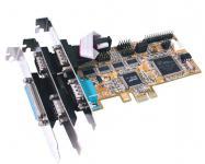 Schnittstellenkarte, 4S Seriell RS-232 / 1P Parallel Multi I/O PCIe Karte (Oxford)