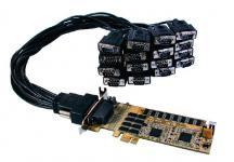 Schnittstellenkarte, LowProfile PCI-Express 16S Seriell RS-232 Karte mit 2 x Octopus-Kabel mit 8 x 9 Pin Stecker, Oxford Chip-Set, Exsys® [EX-44016-L]