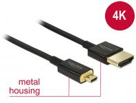Kabel High Speed HDMI mit Ethernet - HDMI-A Stecker an HDMI Micro-D Stecker 3D 4K 3 m Aktiv Slim Premium, Delock® [84784]