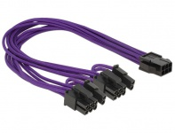 Stromkabel für PCI Express Karten 6 Pin Buchse an 2x 8 Pin Stecker, Textilummantelung, violett, 0, 3m, Delock® [83704]