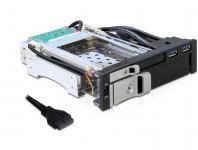 Wechselrahmen für 1 x 2, 5'' & 1 x 3, 5'' SATA Festplatten, 2 x USB 3.0 Ports in 5, 25'' Schacht, Delock® [47209]
