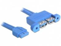 Kabel, USB 3.0 Pin Header Buchse an 2 x USB 3.0 A Buchse (nebeneinander), ca. 0, 45m, Delock® [82941]