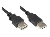 Kabelmeister® Verlängerungskabel USB 2.0 EASY Stecker A an Buchse A, schwarz, 0, 5m
