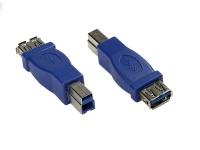 kabelmeister® Adapter USB 3.0 Typ A Kupplung auf Typ B Stecker, blau