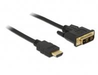Anschlusskabel HDMI A Stecker an DVI-D (18+1) Stecker, schwarz, 2m, Delock® [84670]