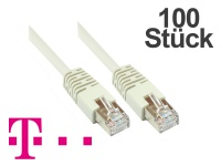 Telekom® Patchkabel, 100er PACK, Cat. 5, F/UTP, grau, zum Verbinden von Router, DSL Modem usw. 5m
