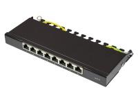 Patch Panel Desktop Cat. 6, geschirmt, STP, 0, 5 HE, 8-Port, tiefschwarz RAL9005, Good Connections®
