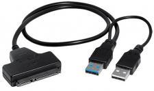 SATA Festplatten Adapter, SATA 17+5 Pin Stecker auf USB 3.0 Typ A Stecker, schwarz, 0, 2 m