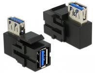 Keystone Modul, USB 3.0 Buchse A an USB 3.0 A Buchse 90° gewinkelt, schwarz, Delock® [86360]