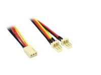 kabelmeister® Lüfter-Y-Adapterkabel, 3-pin Bu. an 2 x 3-pin St.