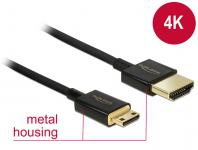 Kabel High Speed HDMI mit Ethernet - HDMI-A Stecker an HDMI Mini-C Stecker 3D 4K 2 m Slim Premium, Delock® [84778]