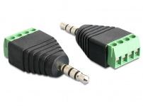 Adapter Klinke Stecker 3, 5 mm an Terminalblock 4 Pin, Delock® [65453]