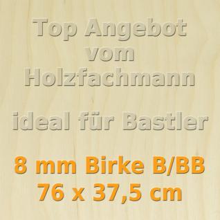 Sperrholz 8mm Birke Sperrholzplatte Modellbau Holzplatte Bastelholz 76 x 37, 5 cm