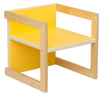 Kinderstuhl Kindermöbel Stuhl Tisch Michel Birke/Gelb in 3 Sitzhöhen