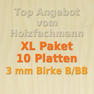 XL Paket Sperrholz 3mm Birke Modellbau Holzplatte Bastelholz 10 Stück 50 x 30 cm