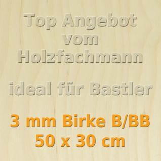 Sperrholz 3mm Birke Sperrholzplatte Modellbau Holzplatte Bastelholz 50 x 30 cm