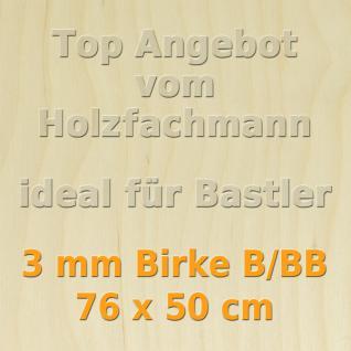 Sperrholz 3mm Birke Sperrholzplatte Modellbau Holzplatte Bastelholz 76 x 50 cm
