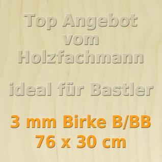 Sperrholz 3mm Birke Sperrholzplatte Modellbau Holzplatte Bastelholz 76 x 30 cm