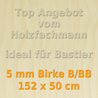 Sperrholz 5mm Birke Sperrholzplatte Modellbau Holzplatte Bastelholz 152 x 50 cm
