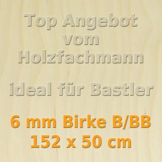 Sperrholz 6mm Birke Sperrholzplatte Modellbau Holzplatte Bastelholz 152 x 50 cm