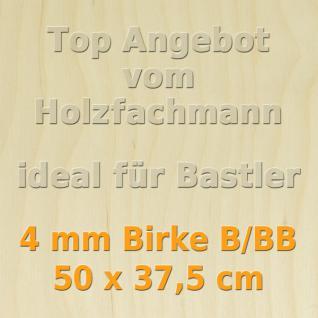 Sperrholz 4mm Birke Sperrholzplatte Modellbau Holzplatte Bastelholz 50 x 37, 5cm